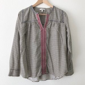 J. Crew Size 4 Boho Embroidered Peasant Top
